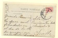 TARJETA POSTAL ALFONSO XIII DIRIGIDA A SEVILLA FRANQUEADA CON SELLO Nº269 (ROTO)