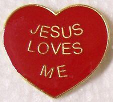 Hat Lapel Pin Push Tie Tac Religious Jesus Loves Me NEW