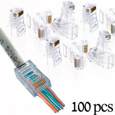 100 Pcs Cat5e RJ45 Network Modular Plug 8P8C Cable Connector End Pass Through