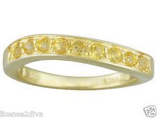 GENUINE YELLOW SAPPHIRE 18K YELLOW GOLD OVER STERLING SILVER WAVE RING SIZE 7