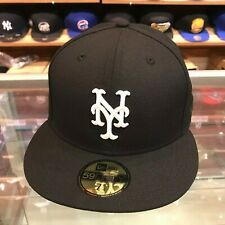 New Era 59fifty New York Mets Fitted Hat Cap Black/White/Grey Bottom/BLACK FLAG