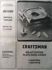 Craftsman Sears Plunger Router Tool Bis-Kit Plate Edge Joiner Owner &Part Manual
