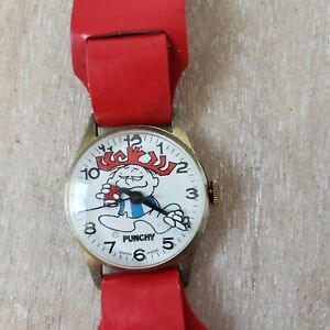 Hawaiian Punch Watch PUNCHY 1970s Wristwatch With Original Leather Band Runs!