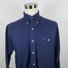 Alexander Julian Colours Mens Cotton LS Button Down Navy Blue Dress Shirt Large