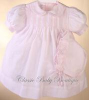 NWT Petit Ami Pink Pintuck 3PC Dress Bloomers Bonnet Baby Girl 3 Months 3M
