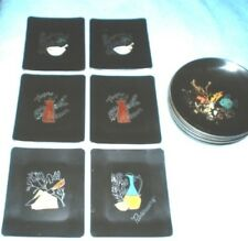 Couroc of Monterey (6) Vintage Decorative Appetizer Plates & (8) Salad Bowls