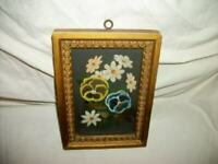 ANTIQUE VICTORIAN FLORAL OIL PAINTING ON GLASS EARLY 1900's RARE GREAT FRAME