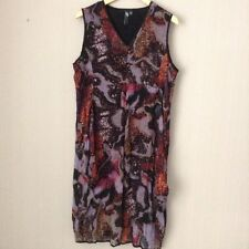 LADIES BROWN AND GREY LINED CHIFFON DRESS - Size 14