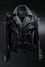 New Mens Full Black Punk Silver Long Spiked Studded Leather Buttons Up Jacket
