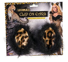 Furry leopard Cat Adult Clip On Ears Costume Accessory NEW