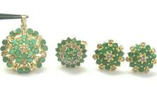 Natürlich Kolumbianisch Grün Smaragd & Diamant Gelbgold Schmuck Set 6.86Ct 18Kt