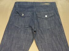 025 WOMENS EX-COND NOBODY BOOTLEG DK BLUE STRETCH JEANS 27 $200.