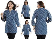 Women Indian Short Cotton Ethnic Kurti Tunic Printed Kurta Shirt Dress NK12 BLUE