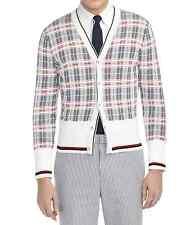 Thom Browne Black Fleece Men's Plaid Cardigan Size 0 Authentic NEW