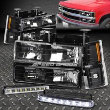BLACK HOUSING HEADLIGHT+CORNER+BUMPER+LED FOG LIGHT FOR 94-98 C10 C/K SUBURBAN