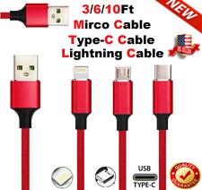 Braided USB Cord Fast Charging For Apple iPhone Samsung Andriod LG Charger Cable