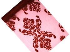 Organza Stoff Tischband Tischläufer 9m x 36cm Ornamente Bordeaux Hochzeit Taufe