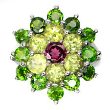 Unheated Round Rhodolite Chrome Diopside Peridot 925 Sterling Silver Ring Size 8