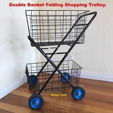 SHOPPING TROLLEY DOUBLE BASKET  FOLDING, HEAVY DUTY Frame & WHEELS, NEW.