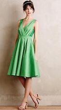NEW Anthropologie Pleated Trellis Dress Size 0 Kelly Green