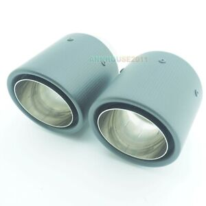 PAIR of 63mm 101mm CARBON FIBRE REAR EXHAUST PIPE TIPS UNIVERSAL STYLING CAR