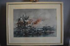 Rudolf Weissauer 1924/1996 Maritim Boote am Dock  Aquatintaradierung/Papier