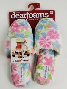 DEARFOAMS Floral LADIES Slippers Small 5-6 Machine Washable Indoor/Outdoor Soles