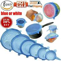 6PCS Stretch Reusable Silicone Wraps Food Saver Cover Seal LIDS SET New Hig NE