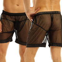 Sexy Mens Sheer Mesh Underwear See-Through Underpants Loose Lounge Boxer Shorts