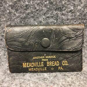 Meadville Bread Co PA Advertising Key Wallet Black Leather Gold Lettering 1940s?