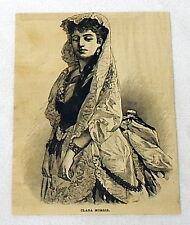 small 1880 magazine engraving ~ actor CLARA MORRIS