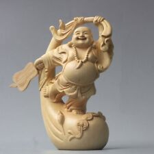 Collection Chinese Boxwood hand-carved Bag Buddha figure statue