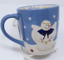 Blue Snowman Angel Winter Christmas Holiday Season Believe Coffee Cup 18 Oz Mug