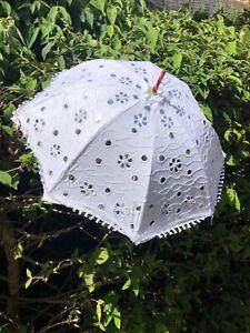 Indian White 65cm Embroidered Hippy Boho Festival Gothic Sun Parasol Umbrella