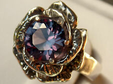 purple raspberry alexandrite flower antique 925 sterling silver ring size 6 USA