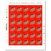 "FEUILLE ""COEURS 2010 LANVIN"", TIMBRES ST VALENTIN AUTOADHESIFS N°386"