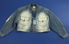 Cow boys band jacket jeans M blu giacca giacchetta vintage donna bomber T1493