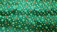 Green Star fabric with glitter poly cotton 150 cms width/ sold per 1/2 metre