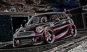 POSTER BILD BILDER XXL POP ART MINI COOPER S BMW NEON BUNT ABSTRAKT BIS 150x90