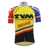 1991 TVM SANYO Cycling Jersey Retro Road Pro Clothing MTB Short Sleeve Bike