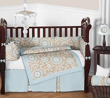 Sweet Jojo Modern Blue Taupe White Crib Bedding Set for Newborn Baby Boy Girl