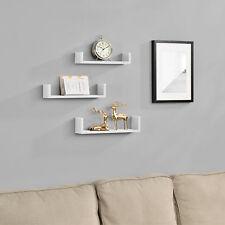 [en.casa]® 3er Set Wandregal Hängeregal Bücherregal Wandboard Trend Regal Weiß