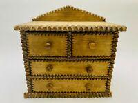 Antique Chip Carved Tramp / Folk Art Wood Mini Dresser / Jewelry Box - Primitive