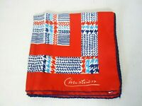 Vtg Christian Square Fashion Scarf Orange Mix Print Made in Italy