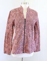 Andria Lieu Peach Black Textured Knit Printed Zip Front Jacket Sz M Stand Collar