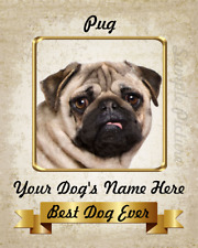 """Pug Dog Personalized Standing Art Home Decor 8""""x10"""" Photo See Video"""