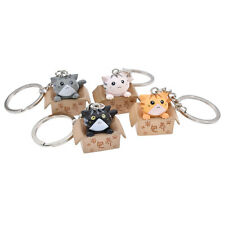 4 Pcs Lovely Box Cat Keychain Keyring Plastic  Key Ring Fashion Jewelry Gift Set