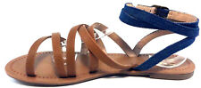 Mix No 6 Ladley Open Toe Leather Gladiator Flat Sandals Blue Brown Shoe Size 7M