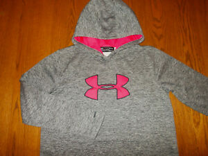 UNDER ARMOUR STORM COLD GEAR HEATHER GRAY HOODED SWEATSHIRT WOMENS LARGE EXC.