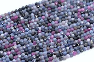 """2MM Genuine Natural Ruby Sapphire Beads Grade AAA Faceted Round Loose Beads 15"""""""